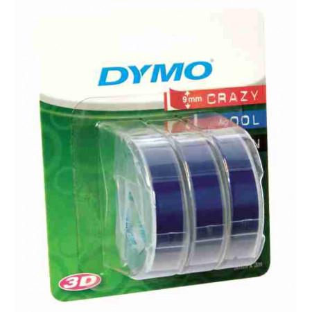 3 RUBANS 3D DYMO BLEU 9MM