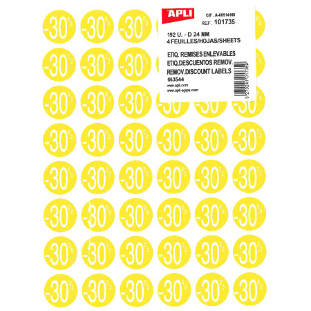 POCHETTE 4 FEUILLES 192 ETIQUETTES - REMISE -30% D24mm