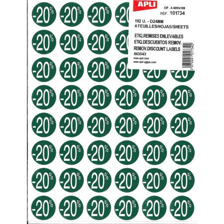 PAQUET 4 FEUILLES 192 ETIQUETTES - REMISE -20% D24mm