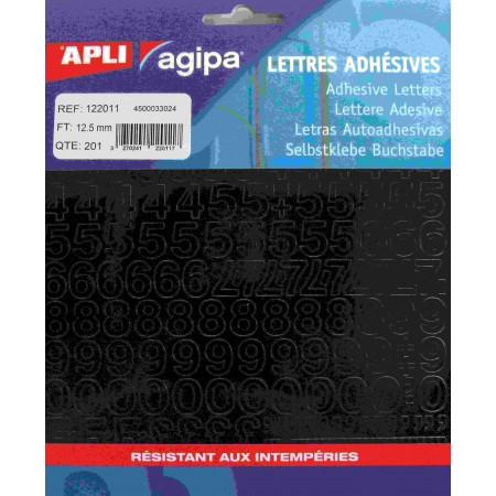 POCHETTES 201 CHIFFRES ADHESIFS - COULEUR NOIR 12.5mm