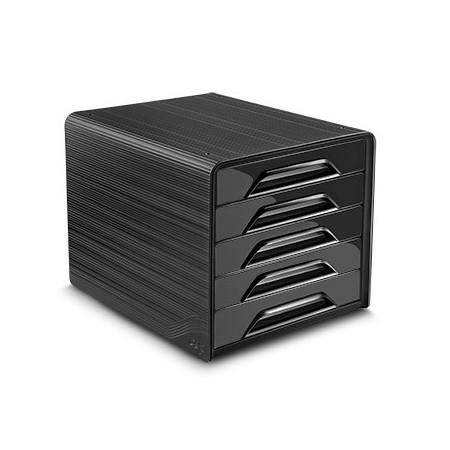Bloc de classement 5 tiroirs - Noir - Smoove
