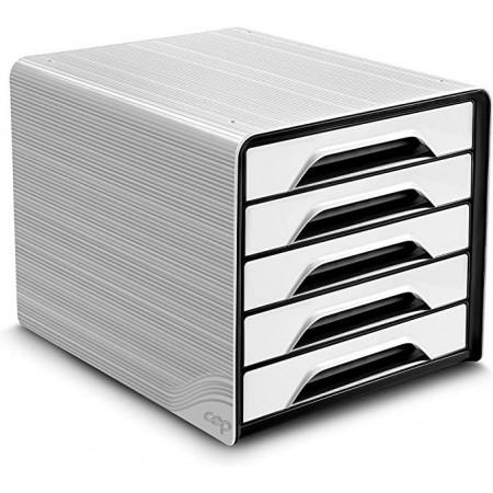 Bloc de classement 5 tiroirs - Blanc et Noir - Smoove