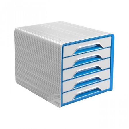 Bloc de classement 5 tiroirs - Blanc et Bleu Océan - Smoove