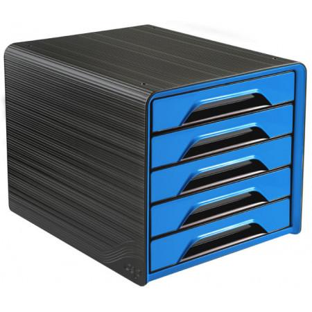 Bloc de classement 5 tiroirs - Noir et Bleu Océan - Smoove