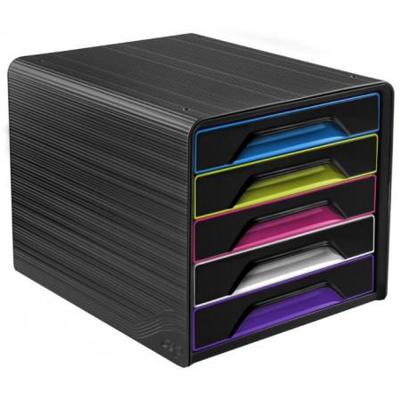 Bloc de classement 5 tiroirs - Noir et Multicolor - Smoove