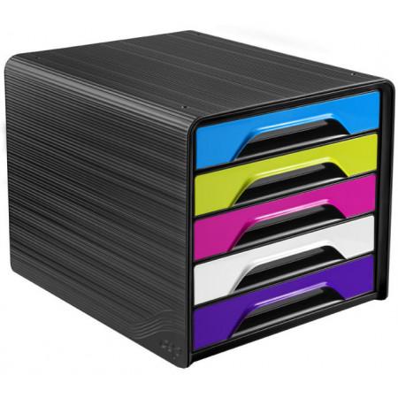 Bloc de classement 5 tiroirs - Noir et Multicolor Vif - Smoove
