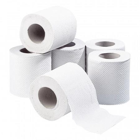 Lot de 6 Rouleaux de Papier Toilette Blanc Double épaisseur
