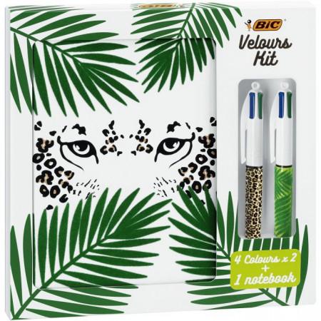 Velours Kit - BIC 4 Couleurs Stylos-Bille (x2) Jungle et Léopard/1 Carnet de Notes A5 Blanc