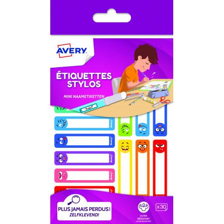 ETIQUETTES X30 STYLOS SMILEY - 50X10MM