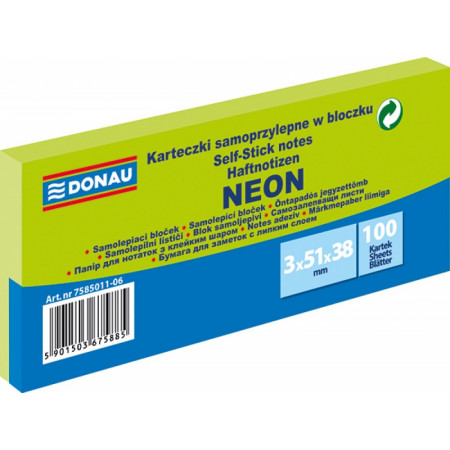 NOTES ADHESIVES 40X50 VERT FLUO (X3)