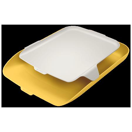 Corbeille courrier+organiseur Cosy jaune