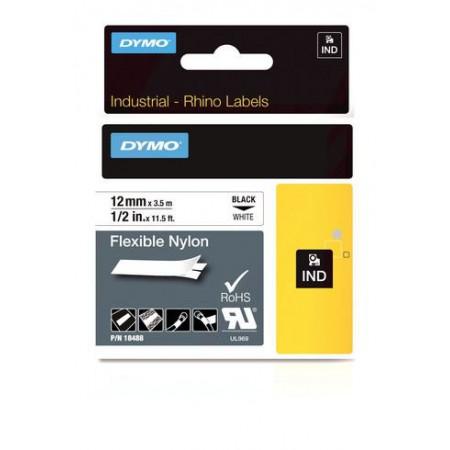 Ruban nylon flexible Dymo Rhino 12 MM X 3,5 M BLANC / NOIR
