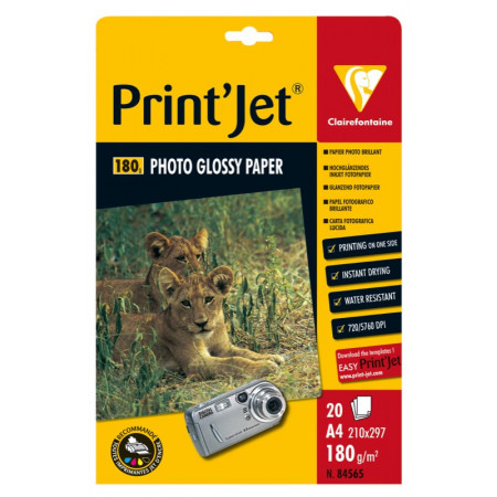 Papier Photo Brillant - Format A4, 21X29.7 - 20 Feuilles de 180gr
