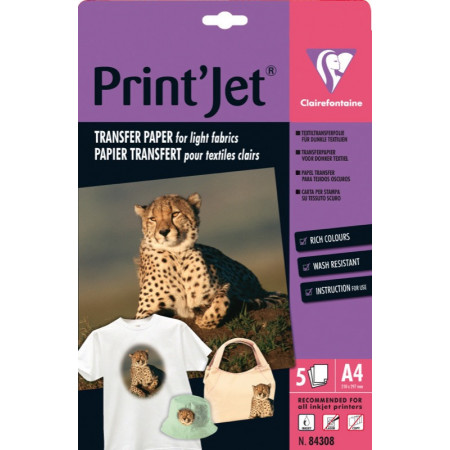 Papier Transfert T-Shirt - Format A4, 21X29.7 - 5 Feuilles de 130gr