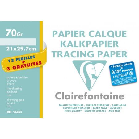 POCHETTE PAPIER CALQUE, Format A4, 21X29.7, 70GR