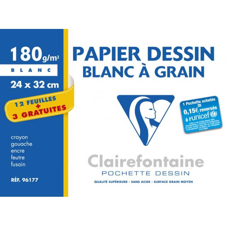 POCHETTE A DESSIN, Grand Format, 24X32, 180GR BLANC