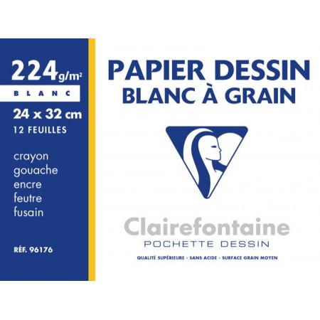POCHETTE A DESSIN, Grand Format, 24X32, 220GR BLANC