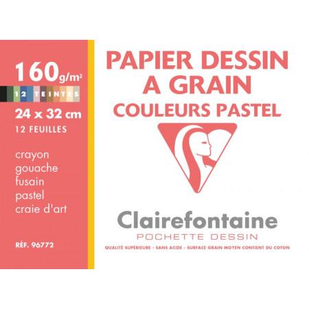 POCHETTE A DESSIN, Grand Format, 24X32, 160GR , COULEURS PASTELS