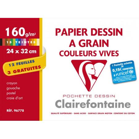 POCHETTE A DESSIN, Grand Format, 24X32, 160GR , COULEURS VIVES
