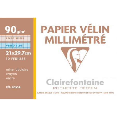 POCHETTE PAPIER DESSIN MILIMETRE, Format A4, 21X29.7