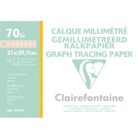 POCHETTE PAPIER CALQUE MILIMETRE, Format A4, 21X29.7
