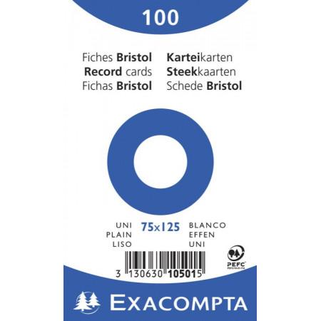 PAQUET DE 100 FEUILLES BRISTOL - 75X125 - UNI BLANC