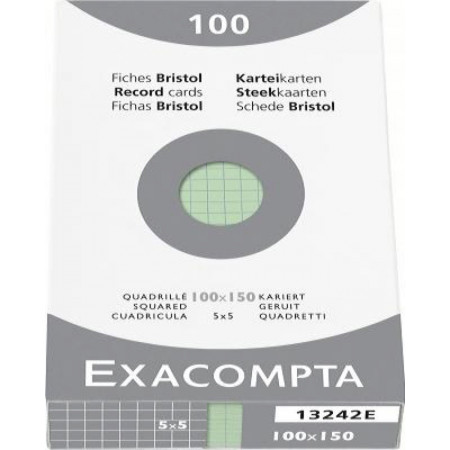 PAQUET DE 100 FEUILLES BRISTOL - 100X150 - Petits Carreaux 5X5 - VERT