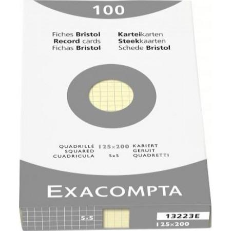 PAQUET DE 100 FEUILLES BRISTOL - 125X200 - Petits Carreaux 5X5 - JAUNE