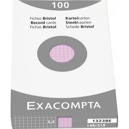 PAQUET DE 100 FEUILLES BRISTOL - 148X210 - Petits Carreaux 5X5 - ROSE