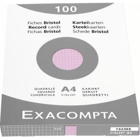 PAQUET DE 100 FEUILLES BRISTOL - Format A4, 21X29.7 - Petits Carreaux 5X5 - ROSE