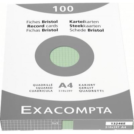 PAQUET DE 100 FEUILLES BRISTOL - Format A4, 21X29.7 - Petits Carreaux 5X5 - VERT