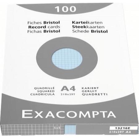 PAQUET DE 100 FEUILLES BRISTOL - Format A4, 21X29.7 - Petits Carreaux 5X5 - BLEU