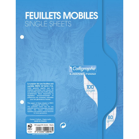 100 FEUILLES MOBILE SIMPLE PERFOREE 17X22 SEYES