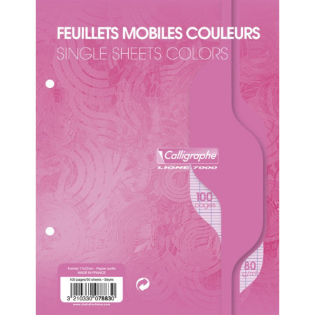 FEUILLES MOBILE SIMPLES 17X22 SEYES PERFOREE ROSE