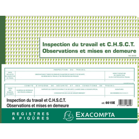 REGISTRE INSPECTION DU TRAVAIL C.H.S.C.T. - MISE EN DEMEURE FOLIOTE