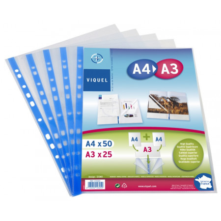 PAQUET DE 25 POCHETTES PERFOREES A3(2A4)