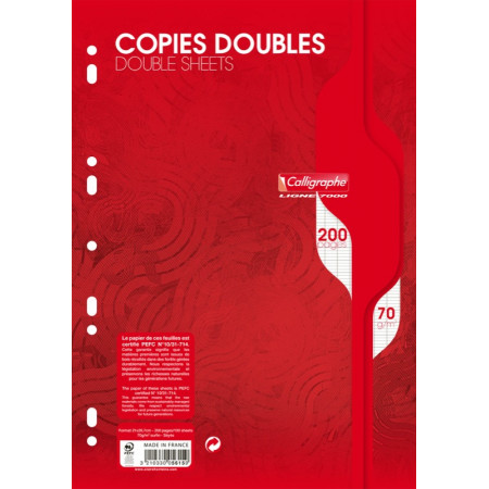 PAQUET 200 PAGES COPIES DOUBLE PERFOREE SEYES