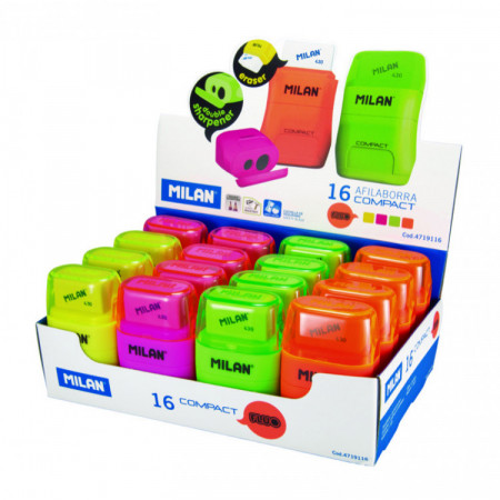 TAILLE-CRAYONS+GOMME COMPACT FLUO