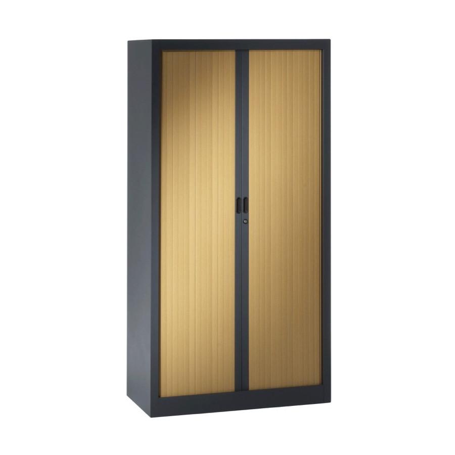 armoire metal porte coulissante anthracite bois. Black Bedroom Furniture Sets. Home Design Ideas